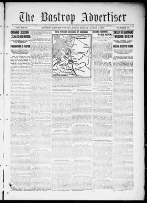 Primary view of object titled 'The Bastrop Advertiser (Bastrop, Tex.), Vol. 65, No. 45, Ed. 1 Friday, March 1, 1918'.