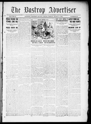 Primary view of object titled 'The Bastrop Advertiser (Bastrop, Tex.), Vol. 65, No. 46, Ed. 1 Friday, March 8, 1918'.