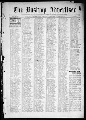 Primary view of object titled 'The Bastrop Advertiser (Bastrop, Tex.), Vol. 66, No. 27, Ed. 1 Friday, December 20, 1918'.