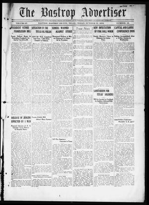 Primary view of object titled 'The Bastrop Advertiser (Bastrop, Tex.), Vol. 67, No. 20, Ed. 1 Friday, October 31, 1919'.