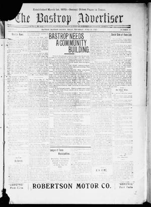 Primary view of object titled 'The Bastrop Advertiser (Bastrop, Tex.), Vol. 67, No. 47, Ed. 1 Thursday, June 24, 1920'.