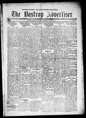 Primary view of object titled 'The Bastrop Advertiser (Bastrop, Tex.), Vol. 69, No. 17, Ed. 1 Thursday, November 24, 1921'.