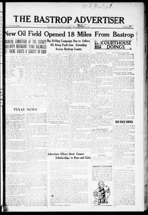 Primary view of object titled 'The Bastrop Advertiser (Bastrop, Tex.), Vol. 72, No. 41, Ed. 1 Thursday, March 5, 1925'.