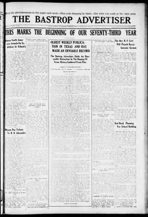 Primary view of object titled 'The Bastrop Advertiser (Bastrop, Tex.), Vol. 73, No. 1, Ed. 1 Thursday, May 27, 1926'.