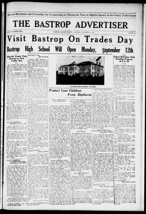 Primary view of object titled 'The Bastrop Advertiser (Bastrop, Tex.), Vol. 74, No. 15, Ed. 1 Thursday, September 8, 1927'.