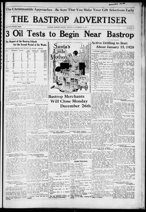 Primary view of object titled 'The Bastrop Advertiser (Bastrop, Tex.), Vol. 74, No. 29, Ed. 1 Thursday, December 15, 1927'.