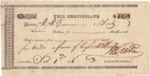 Primary view of object titled 'Certificate of payment to W.W. Bowman for 40 dollars'.