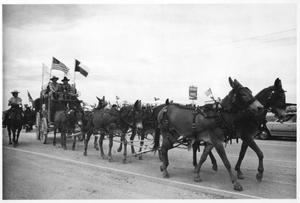 Texas Sesquicentennial Wagon Train on Its Way from Winthorst to Wichita Falls