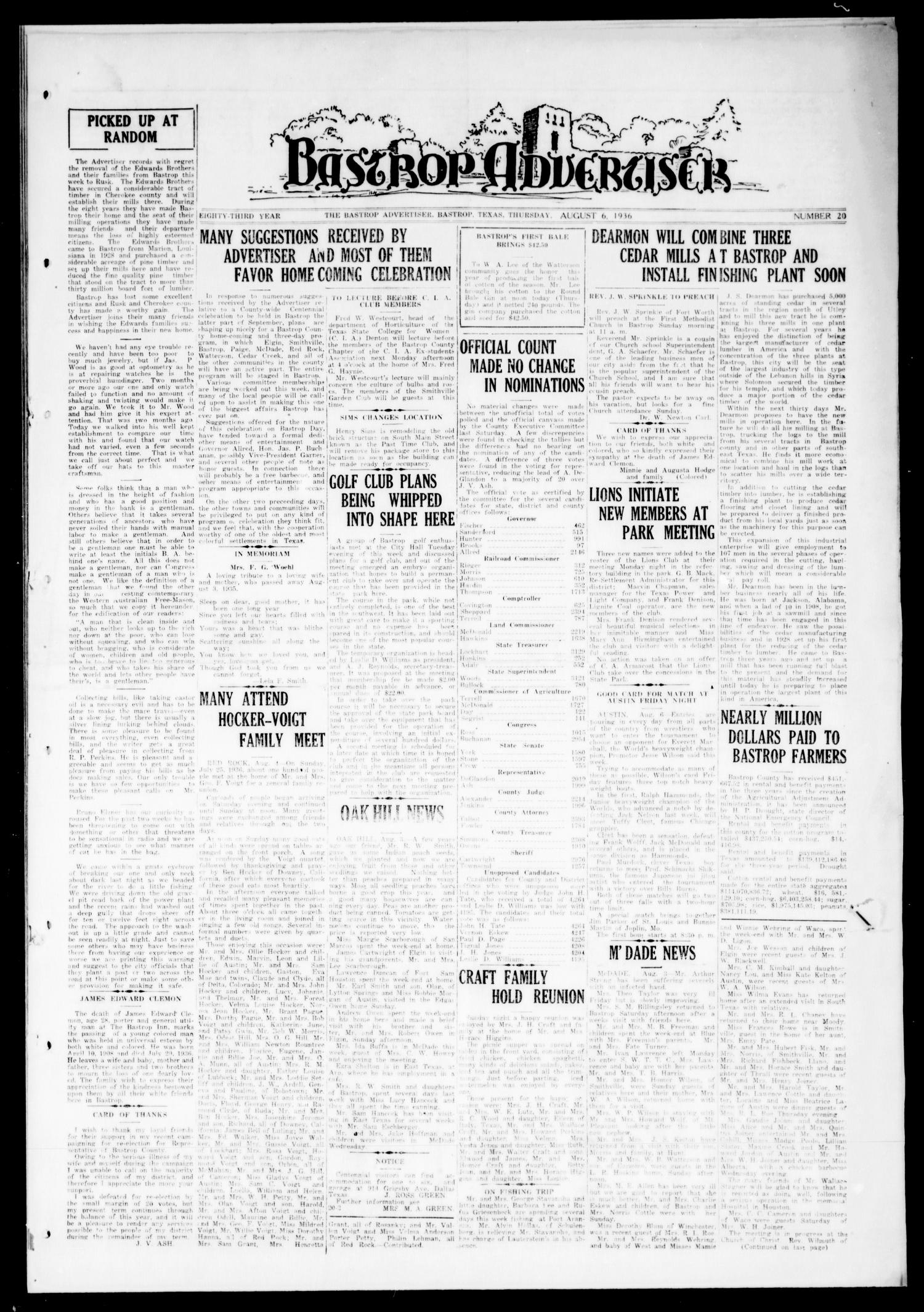 Bastrop Advertiser (Bastrop, Tex.), Vol. 83, No. 20, Ed. 1 Thursday, August 6, 1936                                                                                                      [Sequence #]: 1 of 4
