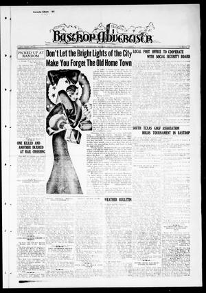 Primary view of object titled 'Bastrop Advertiser (Bastrop, Tex.), Vol. 83, No. 35, Ed. 1 Thursday, November 19, 1936'.