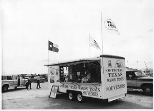 Primary view of object titled 'Texas Sesquicentennial Wagon Train Souvenirs Trailor'.