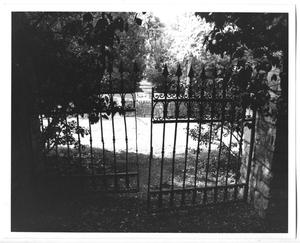 Primary view of object titled '[Photograph of Gates at the DeGolyer Estate]'.