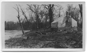Primary view of object titled '[Photograph of a Tent at White Rock Lake]'.