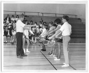Primary view of object titled '[Photograph of Students Learning Badminton Serves]'.