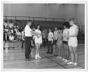 Primary view of object titled '[Photograph of Students Learning How to Play Badminton]'.