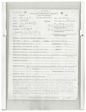 Primary view of object titled '[City of Dallas Police Department Case Report for Juanita Dale Phillips]'.