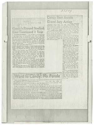 Primary view of object titled '[Newspaper Clippings about Candy Barr]'.