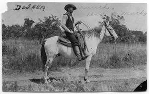 Primary view of object titled '[Elmore Dodson on white horse]'.
