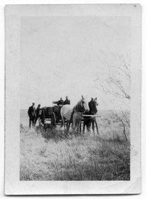 Primary view of object titled '[Horses pulling wagon]'.