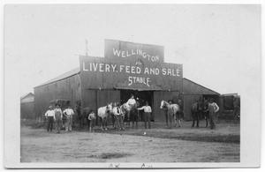 Primary view of object titled '[Wellington Livery, Feed and Sale Stable]'.