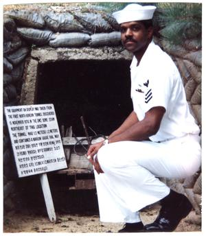 Primary view of object titled '[Charles W. Williams in South Korea at the DMZ, 1991]'.