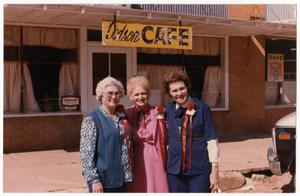 Primary view of object titled '[Three women outside cafe]'.