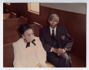 Reverend William M. Clark with Stewardess Eula Grey in the sanctuary of St. James African Methodist Episcopal Church, Denton, Texas