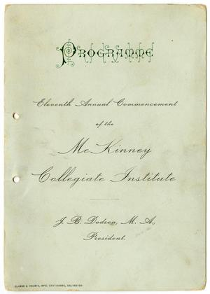 Programme: Eleventh Annual Commencement of the McKinney Collegiate Institute, 1898
