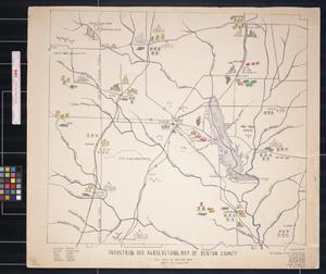 Primary view of object titled 'Industrial and agricultural map of Denton County / map drawn by Sena Mounts Wright ; drawings by Clydene Oliver : holograph, [1940?]'.