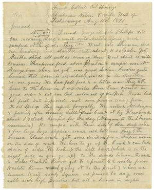 Primary view of object titled '[Journal entry by Henry S. Moore, August 11, 1871]'.