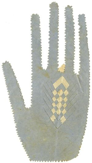 Primary view of object titled '[Paper Craft Hand Holding Heart]'.