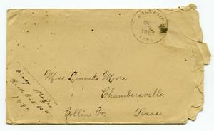Primary view of object titled '[Envelope addressed to Miss Linnet Moore, October 7, 1897]'.