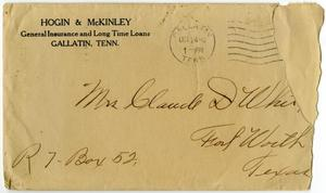 Primary view of object titled '[Envelope addressed to Mrs. Claude D. White, October 24, 1916]'.