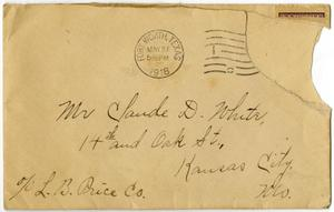 Primary view of object titled '[Envelope addressed to Claude D. White of Kansas City, Missouri]'.