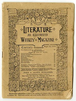 Primary view of object titled 'Literature: an illustrated Weekly Magazine, Volume 1, Number 31, September 22, 1888'.
