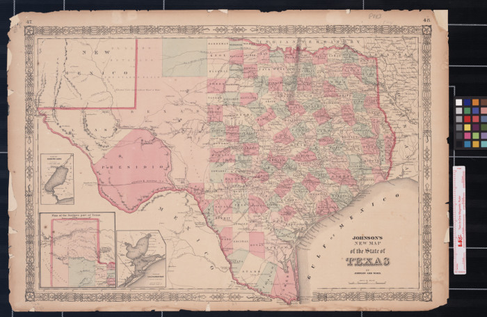 New Map Of Texas.Johnson S New Map Of The State Of Texas The Portal To Texas History