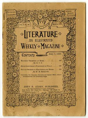 Primary view of object titled 'Literature: an illustrated Weekly Magazine, Volume 1, Number 20, July 7, 1888'.