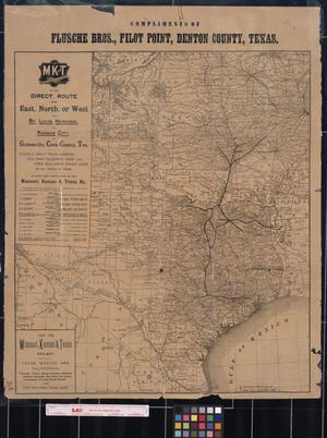 Primary view of object titled '[Map showing route of the Missouri, Kansas and Texas Railway]'.