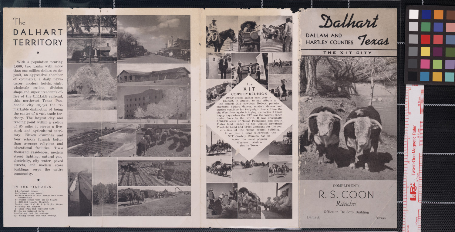 Dalhart, Texas : the XIT city : Dallam and Hartley Counties / compliments of R.S. Coon Ranches.                                                                                                      [Sequence #]: 1 of 2