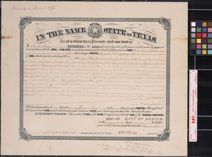 Primary view of object titled '[Land grant] : Austin, [Tex.], 1888 January 26.'.