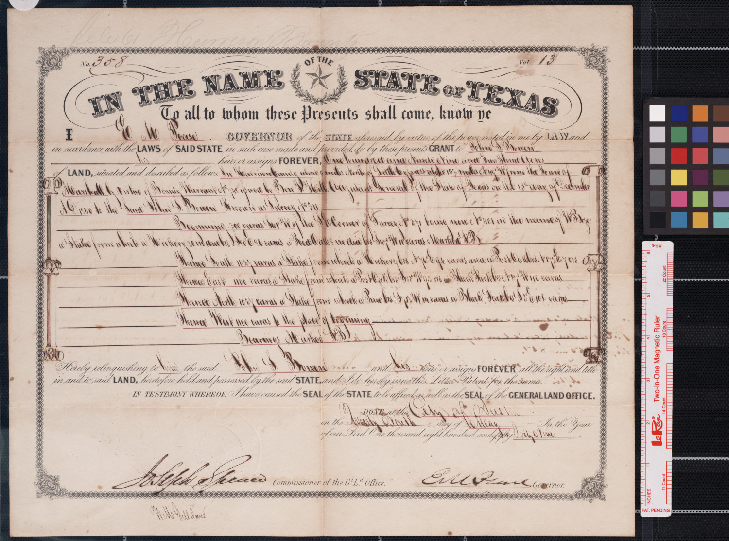 [Land grant] : Austin, [Tex.], 1869 May 29.                                                                                                      [Sequence #]: 1 of 2