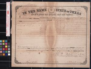 Primary view of object titled '[Land grant] : Austin, [Tex.], 1859 August 11.'.