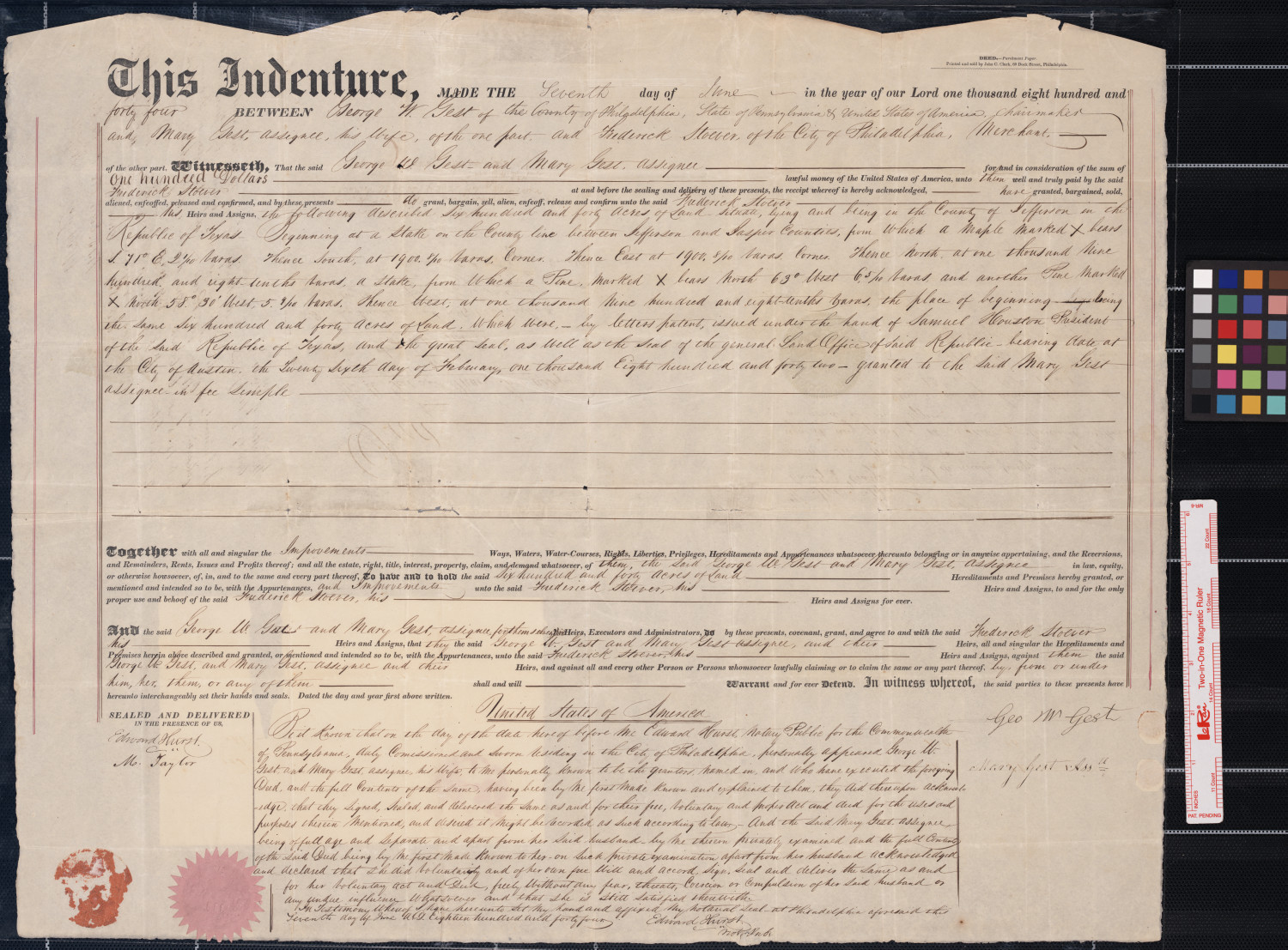 indenture  deed for sale of land   between george m  and