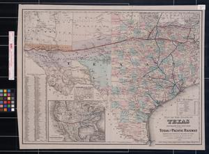 Map of the State of Texas showing the line and lands of the Texas and Pacific Railway.