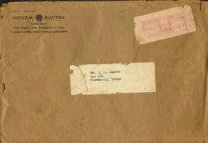 Primary view of object titled '[Brown envelope that contained the instruction documents from General Electric]'.