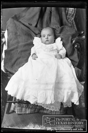 Primary view of object titled '[Baby in a long white gown]'.