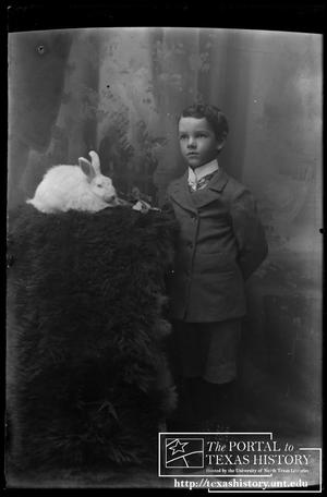 Primary view of object titled '[Young boy with his rabbit]'.