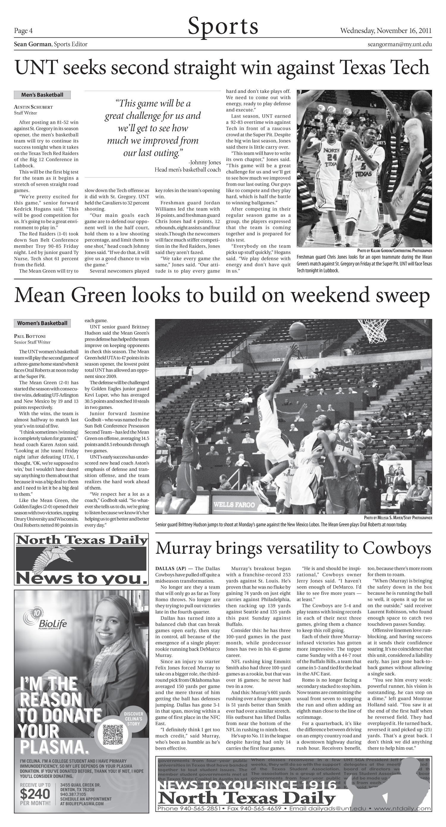 North Texas Daily (Denton, Tex.), Vol. 98, No. 48, Ed. 1 Wednesday, November 16, 2011                                                                                                      [Sequence #]: 4 of 8
