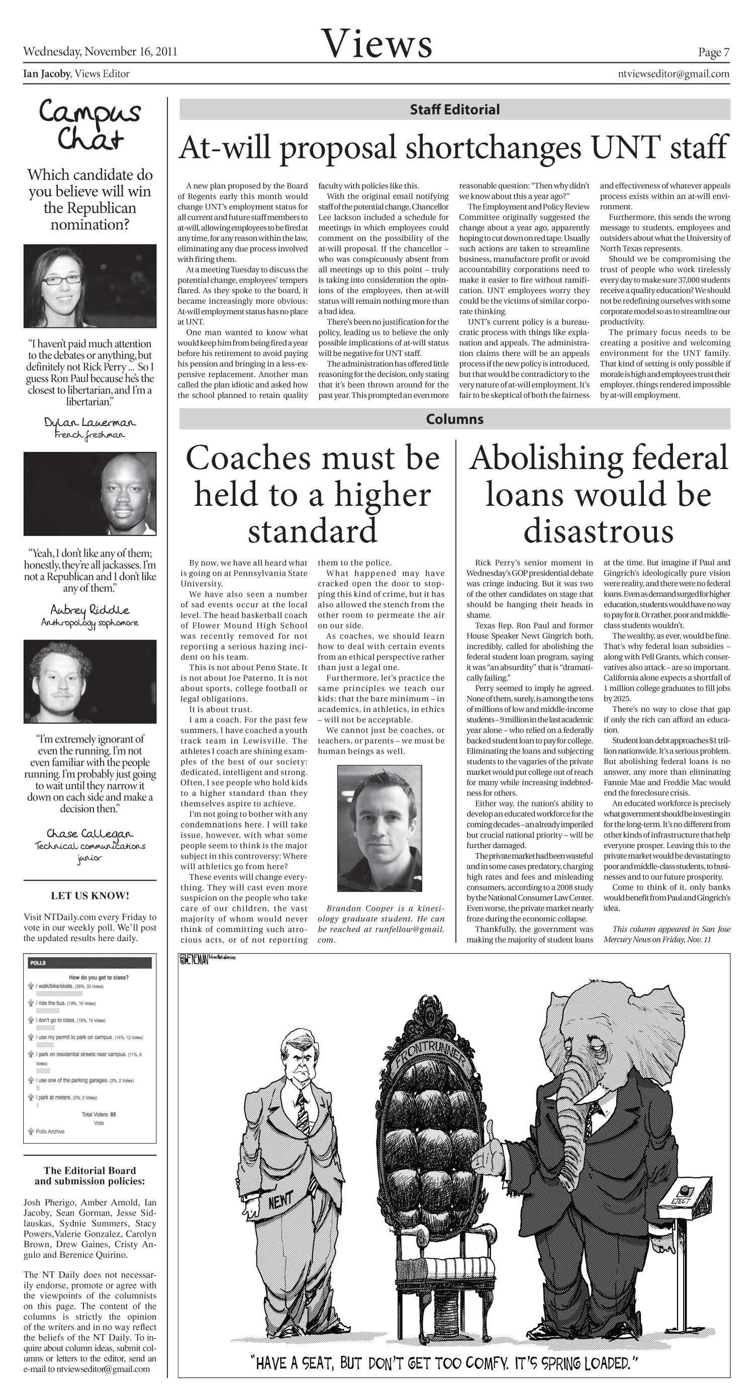North Texas Daily (Denton, Tex.), Vol. 98, No. 48, Ed. 1 Wednesday, November 16, 2011                                                                                                      [Sequence #]: 7 of 8