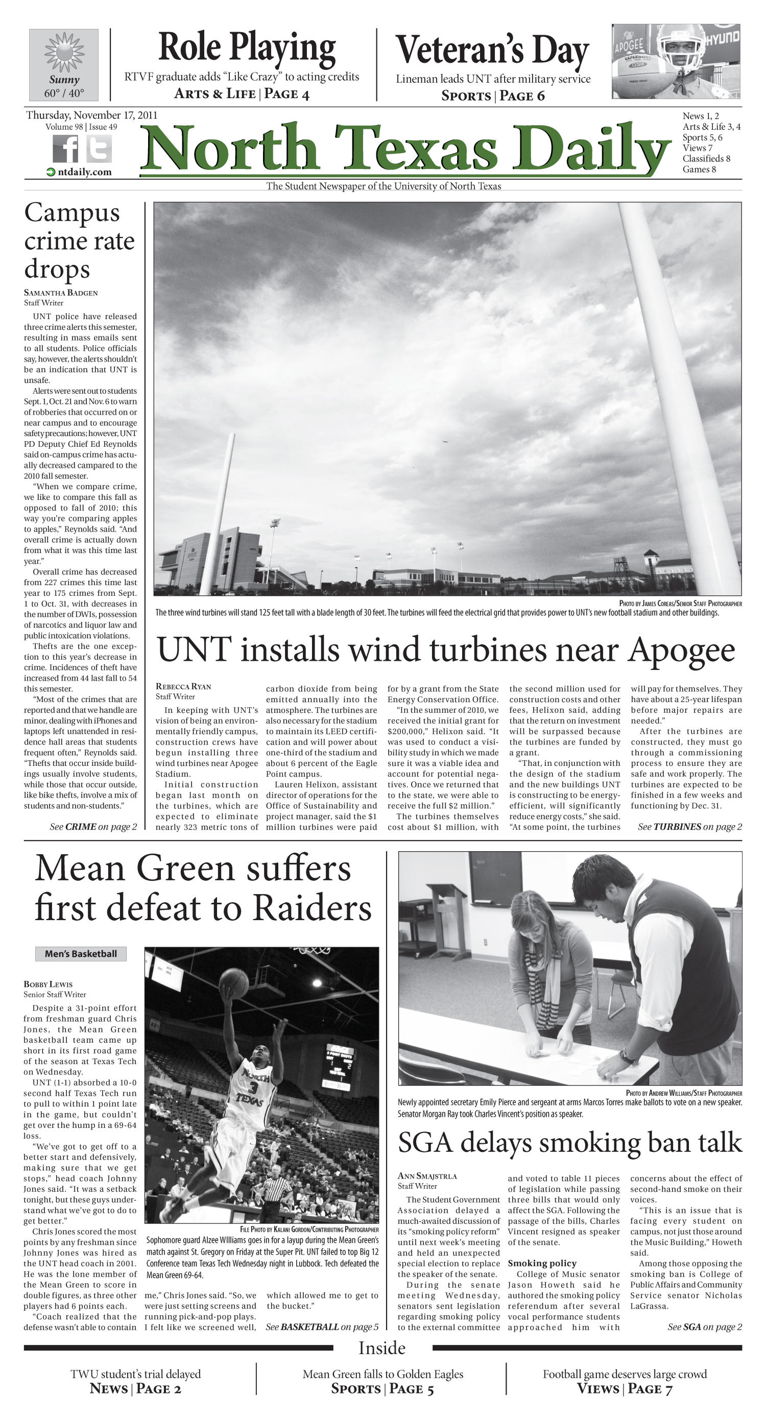North Texas Daily (Denton, Tex.), Vol. 98, No. 49, Ed. 1 Thursday, November 17, 2011                                                                                                      [Sequence #]: 1 of 8